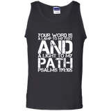 "Bible Verse Men 100% Cotton Tank Top - ""Psalm 119:105"" Design 7 (White Font) - Meditate Healing Christian Store"