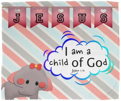 Hope Inspiring Kids Snuggly Blanket - I Am A Child Of God ~John 1:12~ (Design: Elephant)