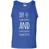 "Bible Verse Men 100% Cotton Tank Top - ""Psalm 119:105"" Design 19 (White Font) - Meditate Healing Christian Store"