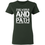 "Bible Verse Ladies' 5.3 oz. T-Shirt - ""Psalm 119:105"" Design 7 (White Font) - Meditate Healing Christian Store"