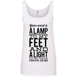 "Bible Verses Ladies' 100% Ringspun Cotton Tank Top - ""Psalm 119:105"" Design 4 (Black Font) - Meditate Healing Christian Store"