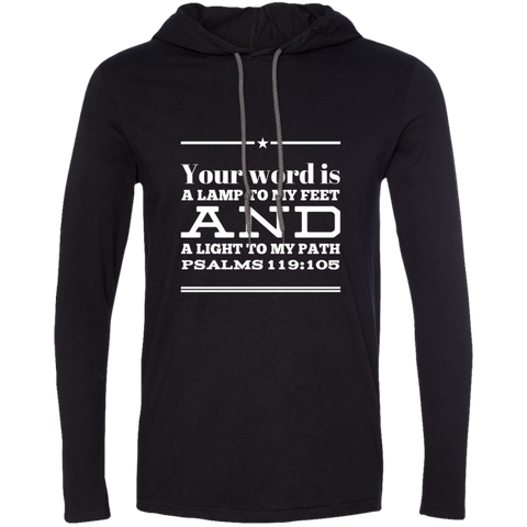 "Bible Verse Men Long Sleeve T-Shirt Hoodie - ""Psalm 119:105"" Design 10 (White Font) - Meditate Healing Christian Store"