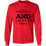 "Bible Verse Long Sleeve  Ultra Cotton T-Shirt - ""Psalm 119:105"" Design 16 (Black Font) - Meditate Healing Christian Store"