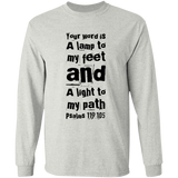 "Bible Verse Long Sleeve  Ultra Cotton T-Shirt - ""Psalm 119:105"" Design 6 (Black Font) - Meditate Healing Christian Store"