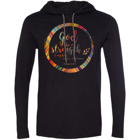 "Bible Verse Men Long Sleeve T-Shirt Hoodie - ""Psalm 73:26"" Design 9 - Meditate Healing Christian Store"