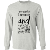 "Bible Verse Long Sleeve  Ultra Cotton T-Shirt - ""Psalm 119:105"" Design 18 (Black Font) - Meditate Healing Christian Store"