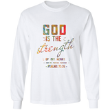 "Bible Verse Long Sleeve Ultra Cotton T-Shirt - ""Psalm 73:26"" Design 6 - Meditate Healing Christian Store"