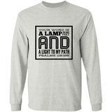 "Bible Verse Long Sleeve  Ultra Cotton T-Shirt - ""Psalm 119:105"" Design 12 (Black Font) - Meditate Healing Christian Store"