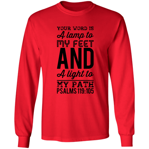 "Bible Verse Long Sleeve  Ultra Cotton T-Shirt - ""Psalm 119:105"" Design 3 (Black Font) - Meditate Healing Christian Store"