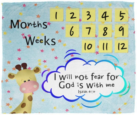 Cozy Plush Baby Milestone Blanket - God Is With Me ~Isaiah 41:10~ (Design: Giraffe 2)