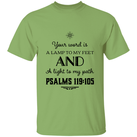 "Bible Verse Men 5.3 oz. T-Shirt - ""Psalm 119:105"" Design 5 (Black Font) - Meditate Healing Christian Store"