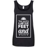 "Bible Verse Ladies' 100% Ringspun Cotton Tank Top - ""Psalm 119:105"" Design 2 (White Font) - Meditate Healing Christian Store"