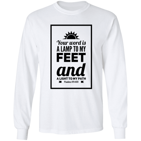 "Bible Verse Long Sleeve  Ultra Cotton T-Shirt - ""Psalm 119:105"" Design 2 (Black Font) - Meditate Healing Christian Store"