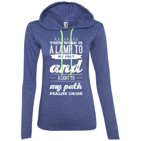 "Bible Verse Ladies' Long Sleeve T-Shirt Hoodie - ""Psalm 119:105"" Design 17 (White Font) - Meditate Healing Christian Store"