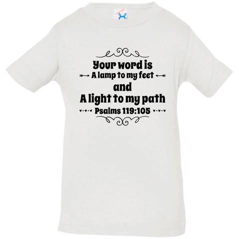 "Bible Verse Infant Jersey T-Shirt - ""Psalm 119:105"" Design 1 (Black Font) - Meditate Healing Christian Store"