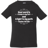 "Bible Verse Infant Jersey T-Shirt - ""Psalm 119:105"" Design 1 (White Font) - Meditate Healing Christian Store"