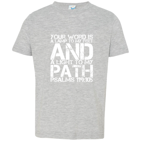 "Bible Verse Toddler Jersey T-Shirt - ""Psalm 119:105"" Design 7 (White Font) - Meditate Healing Christian Store"