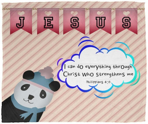 Hope Inspiring Kids Snuggly Blanket - Spirit Of God Lives In Me ~1 Corinthians 3:16~ (Design: Panda 2)