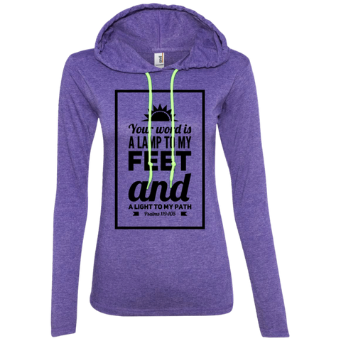 "Bible Verse Ladies' Long Sleeve T-Shirt Hoodie - ""Psalm 119:105"" Design 2 (Black Font) - Meditate Healing Christian Store"