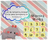Cozy Plush Baby Milestone Blanket - Christ Strengthens Me ~Philippians 4:13~ (Design: Elephant)