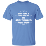 "Bible Verse Men 5.3 oz. T-Shirt - ""Psalm 119:105"" Design 1 (White Font) - Meditate Healing Christian Store"