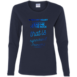 "Bible Verse Ladies' Cotton Long Sleeve T-Shirt - ""Psalm 61:2"" Design 18 - Meditate Healing Christian Store"