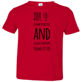"Bible Verse Toddler Jersey T-Shirt - ""Psalm 119:105"" Design 19 (Black Font) - Meditate Healing Christian Store"