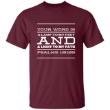 "Bible Verse Men 5.3 oz. T-Shirt - ""Psalm 119:105"" Design 11 (White Font) - Meditate Healing Christian Store"