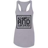 "Bible Verses Ladies Ideal Racerback Tank - ""Psalm 119:105"" Design 12 (Black Font) - Meditate Healing Christian Store"