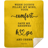 Typography Premium Sherpa Mink Blanket - Your Comfort Delights My Soul ~Psalm 94:19~