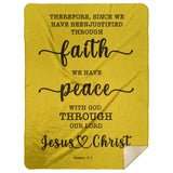 Typography Premium Sherpa Mink Blanket - We Have Peace With God ~Romans 5:1~