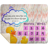 Cozy Plush Baby Milestone Blanket - God Has Great Plans For Me ~Jeremiah 29:11~ (Design: Ducks)