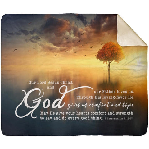Bible Verses Premium Sherpa Mink Blanket - His Grace Gave Us Eternal Comfort ~2 Thessalonians 2:16-17~