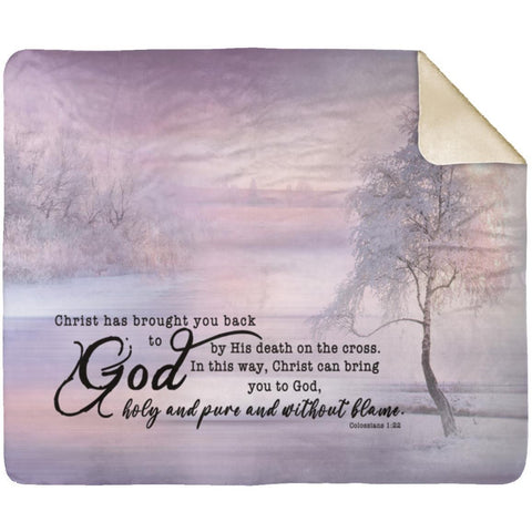 Bible Verses Premium Sherpa Mink Blanket - Salvation through Christ ~Colossians 1:22~
