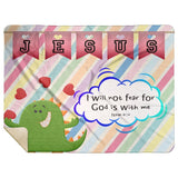 Hope Inspiring Kids Snuggly Blanket - God Is With Me ~Isaiah 41:10~ (Design: Dinosaur)