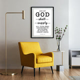 Minimalist Typography Poster - My God Shall Supply All My Needs ~Philippians 4:19~