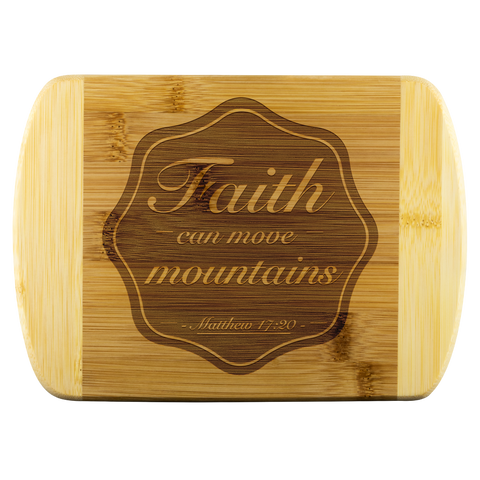 Bible Verses Wood Cutting Board - Matthew 17:20 (Design 6) - Meditate Healing Christian Store