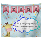 Hope Inspiring Nursery & Kids Bedroom Tapestry - Christ Strengthens Me ~Philippians 4:13~ (Design: Giraffe 2)