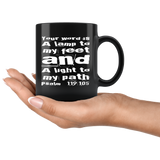 Bible Verses Black Mugs - Psalm 119:105 (Design 6) - Meditate Healing Christian Store