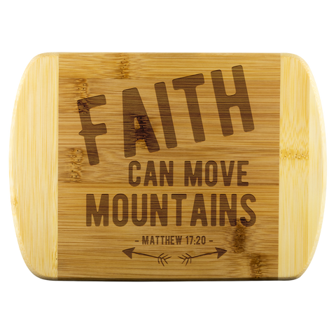 Bible Verses Wood Cutting Board - Matthew 17:20 (Design 1) - Meditate Healing Christian Store