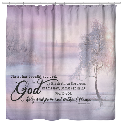 Bible Verses Premium Oxford Fabric Shower Curtain - Salvation through Christ ~Colossians 1:22~