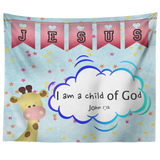 Hope Inspiring Nursery & Kids Bedroom Tapestry - I Am A Child Of God ~John 1:12~ (Design: Giraffe 2)
