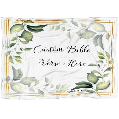 Customizable Artistic Minimalist Bible Verse Premium Mink Sherpa Blanket With Your Signature (Design: Square Garland 5)