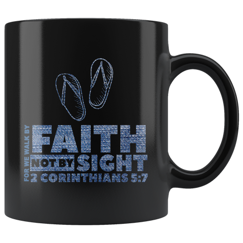 Bible Verses Black Mugs - 2 Corinthians 5:7 (Design 2) - Meditate Healing Christian Store