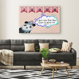 Hope Inspiring Nursery & Kids Bedroom Framed Canvas Wall Art - God Is With Me ~Isaiah 41:10~ (Design: Panda 2)