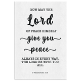 Minimalist Typography Framed Canvas - The Lord Gives Peace ~2 Thessalonians 3:16~