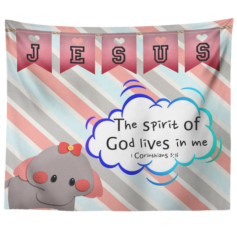 Hope Inspiring Nursery & Kids Bedroom Tapestry - Spirit Of God Lives In Me ~1 Corinthians 3:16~ (Design: Elephant)