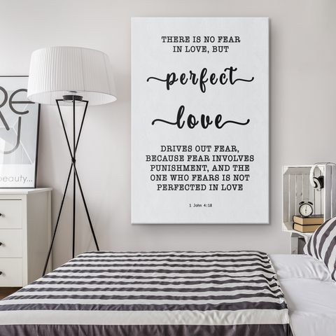 Minimalist Typography Framed Canvas - Perfect Love Expels Fear ~1 John 4:18~