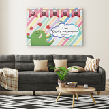 Hope Inspiring Nursery & Kids Bedroom Framed Canvas Wall Art - I Am God's Masterpiece ~Ephesians 2:10~ (Design: Dinosaur)