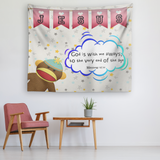 Hope Inspiring Nursery & Kids Bedroom Tapestry - God Is With Me Always ~Matthew 28:20~ (Design: Monkey)